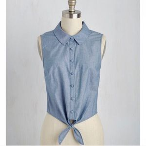 ModCloth Blue Chambray Crop Top Tie Button Down L